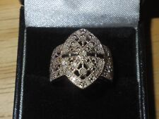 Diamond Dinner Ring - Sterling Silver 925 - Size 6 1/2, 6.5 - New