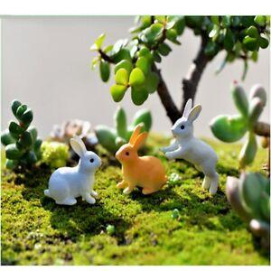 Rabbit Easter Decoration Miniature Animal Figurine Resin Craft Mini Bunny LG