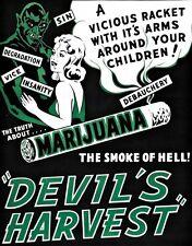 Demonios cosecha Vintage cannabis marihuana Movie Poster A4 Art Print