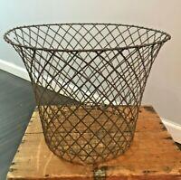 Steampunk Industrial Farm Antique Rustic Metal Barn Wire Primitive Cage Basket