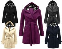 Ladies Women Long Sleeves Hooded Button Waist Belt Fleece Jacket Coat top 8-20