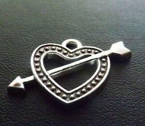 Heart with Arrow Pendant Charm Antique Tibetan Silver Tone Jewellery  x 10