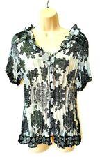 New Directon Woman Plus Size 1X Top Tunic Black White Paisley Floral Button