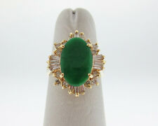 Estate Green Jade 3/4ct Diamonds Solid 18k Yellow Gold Cocktail Ring