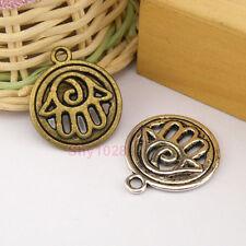 4Pcs Tibetan Silver,Antiqued Bronze Hollow Hand Charms Pendants 21x25mm M1232