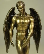 "11"" NUDE MALE GUARDIAN ANGEL Winged Sculpture Statue Antique Bronze Finish"