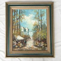 Vtg Painting French Flower Market Village Scene Impressionism Thrower 1970s Art
