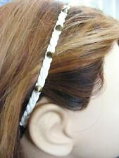 $12 Stephan & Co Brasstone Spike Headband Braided White Faux Leather Hair Band