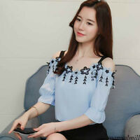 Chic Women Summer Cold Shoulder Tassel Sweet Tops Loose Casual Slim Shirt Blouse