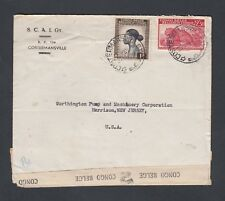 BELGIAN CONGO 1945 WWII CENSORED COVER COSTERMANSVILLE TO HARRISON NEW JERSEY US