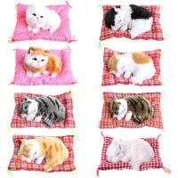 Plush Stuffed Toy Cute Sleeping Cat Press Simulation Sound Animal Kids Doll Gift
