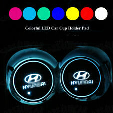 2PCS Fit For Hyundai Colorful LED Car Cup Holder Pad Mat Auto Atmosphere Lights