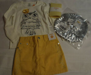 Gymboree Bright Owl Size 4 Skort Shirt Hair Clip 6+ hat 5-7 Tights Outfit NWT