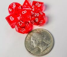 Polyhedral 7 Piece Dice Set Transparent Small 10mm Mini Die Red And White