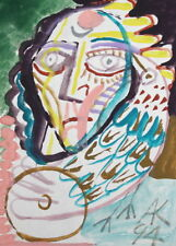 ABSTRACT AVANT GARDE PORTRAIT BIRD WATERCOLOR PAINTING SIGNED