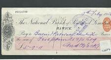 wbc. - CHEQUE - USED -1900's - CH84 -  NATIONAL BANK of SCOTLAND, HAWICK