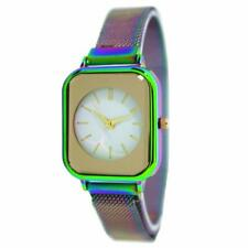 Fashion Watch Quartz Rainbow Mesh Magnetic Watch Band with Square Case