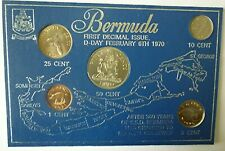 1970 BERMUDA - COMPLETE UNC TYPE SET (5) - FIRST DECIMAL COINS - BLUE CARD