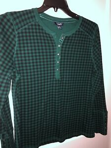 Chaps Henley, Black and Green, Size XL, long sleeve