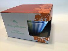 Tommy Bahama Melamine Square Salad Cereal Bowls Set 4 Tropical Stripe Ocean Wave