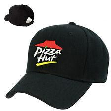 PIZZA HUT DELIVERY LOGO STITCHED EMBROIDERED BASEBALL CAP BLACK ADJUSTABLE
