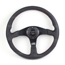 Mugen 350mm Leather Steering Wheel Black Spoke Flat Sport Racing Steering Wheel
