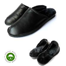 Luxury Men's GENUINE SHEEPSKIN Slippers, REAL LEATHER, Black, Sizes 43-46 (UK12)