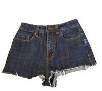 BDG High Rise Denim Shorts 25 Pockets Blue Raw Hem