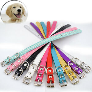 10pcs/lot Pet Collar Reflective Leather Puppy Collars Adjustable Dog Neck Strap