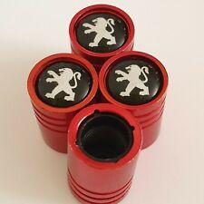 BLACK PEUGEOT Matte red valve Tyre Dust Caps Plastic Inside all models Nonstick