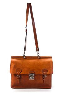 Dooney & Bourke Leather Adjustable Strap Large Satchel Handbag Brown