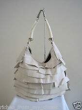 YSL YVES SAINT LAURENT St. Tropez Ivory Ruffle Leather Horn Shoulder Bag Handbag