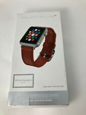 Platinum Leather Band Strap For Apple Watch 5 4 3 2 38mm 40mm Papaya Brown