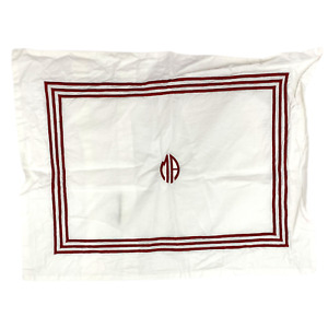 """Pottery Barn Grand 12x16"""" Accent Pillow Cover/Sham Red Stripe Embroidered Mono"""
