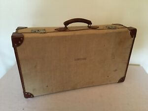 Vintage Military Issue Canvas & Leather Suitcase
