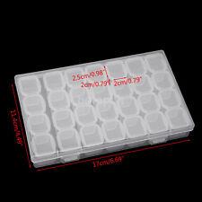 New Clear Plastic 28 Slots Jewelry Art Nail Tools Storage Box Case Organizer FR
