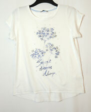WHITE BLUE FLORAL TOP STRETCH SIZE 12 TU JERSEY BLOUSE