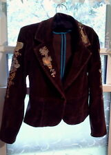 TRUE MEANING LADIES SZ L BROWN CORD BLAZER JACKET DECORATIVE STITCHING LAPEL AND