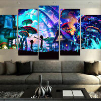 Framed Home Decor Rick and Morty Stretched Canvas Prints Painting Wall Art 5PCS