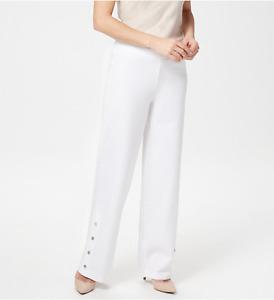 Isaac Mizrahi Regular 24/7 Stretch Wide-Leg Snap Detail Pants - White - Plus 22