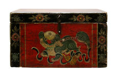 Chinese Vintage Red Foo Dog Theme Trunk Box Chest cs2286