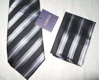 VERSA Italy New York Black 100% Silk Striped Handkerchief & Necktie Tie NR