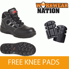 Airside Ss704cm Non Metallic Black Leather Work Hiker Safety Boot Free Knee Pads