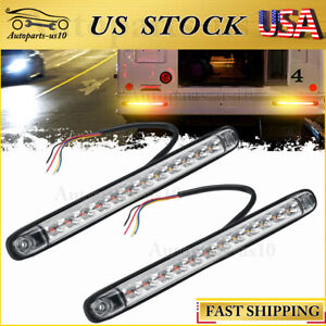 """2x 10"""" Trailer LED Brake Turn Signal Tail Lights Red Amber Sequential Dynamic"""