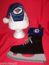NHL Hockey WINNIPEG JETS Logo Christmas SANTA HAT + ICE SKATE STOCKING ~ NWT