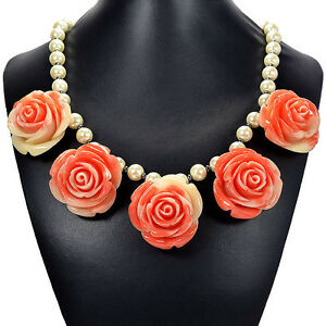 Salmon Pink Rose on Vintage Faux Pearl Necklace Handmade Jewellery Tantric Tokyo