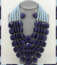 Statement Necklace Beaded Multi Strand Row Layered Chunky Necklace Pearl Chain