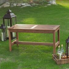 3 Foot Slat Backless Outdoor Garden Wood Bench Home Living Furniture Patio Deck