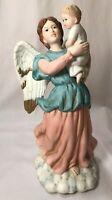 "Homco 8""H Guardian Angel w/ Child Porcelain Figurine Statue 1417 Home Interiors"