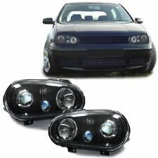 BLACK R32 STYLE HEADLIGHTS HEADLAMPS FOR VW GOLF 4 MK4 MK 4 IV V4